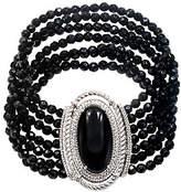 "Judith Ripka Sterling 3-Strand Black Onyx Bead7-3/4"" Bracelet"