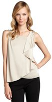 Elie Tahari taupe stretch silk 'Avelon' ruffle front sleeveless blouse