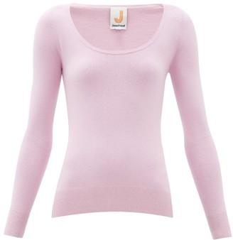 JoosTricot Peachskin Scoop-neck Cotton-blend Sweater - Womens - Light Pink