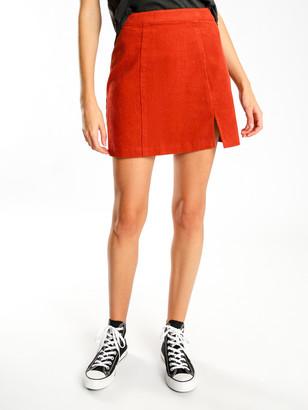 Beyond Her Gemini Cord Mini Skirt in Burnt Orange