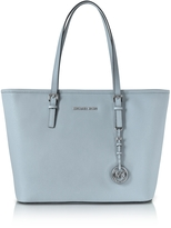 Michael Kors Jet Set Travel Dusty Blue Saffiano Leather Top-Zip Tote