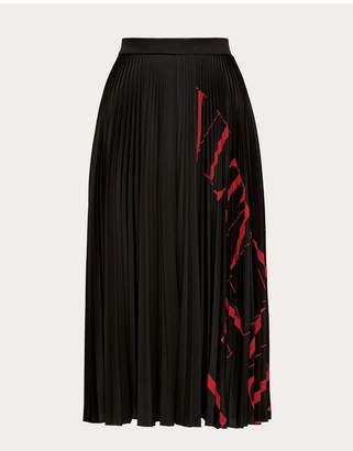 Valentino Vltn Grid Pleated Jersey Skirt