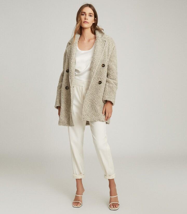 Reiss Sky - Wool Blend Teddy Coat in Grey