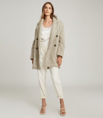 Reiss Sky - Wool Blend Teddy Coat in Grey