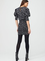 Very Shirred Skirt Ruched Sleeve Linen Dress - Print