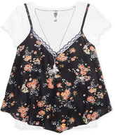 Beautees 2-Pc. Floral-Print Tank, T-Shirt & Necklace Set, Big Girls (7-16)