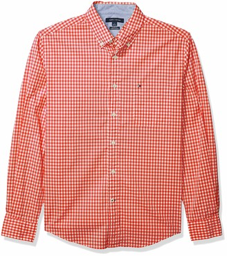 Tommy Hilfiger Men's Long Sleeve Button Down Shirt in Classic Fit Navy Blazer Gingham Large