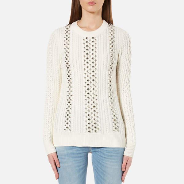 MICHAEL Michael Kors Women's Ball Beads Cable Sweatshirt White