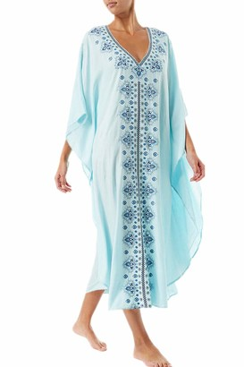 YouKD Summer Cotton Embroidered Floral Loose Caftan Boho Beach Bikini Cover Up Dress Plus Size Robe for Women