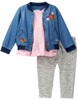 Hudson Chambray Bomber Jacket, Tee, & Jogger Set (Baby Girls)