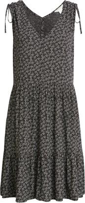Caslon Print Ruched Shoulder Dress