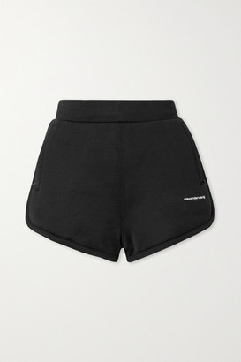 Alexander Wang Printed Coated French Cotton-blend Terry Shorts - Black