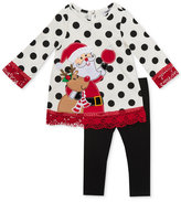 Rare Editions 2-Pc. Holiday Lace-Trim Top and Leggings Set, Little Girls (4-6X)