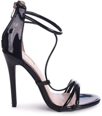 Linzi CORINNA - Black Patent Strappy Caged Stiletto Heel With Ankle Strap