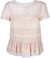 RED Valentino lace insert shortsleeved blouse - women - Polyamide/Polyester - 40