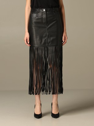 Boutique Moschino Skirt Moschino Boutique Mini Skirt In Leather With Fringes