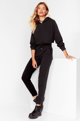 Nasty Gal Womens Easy Going Cropped Hoodie and Joggers Set - Black - S