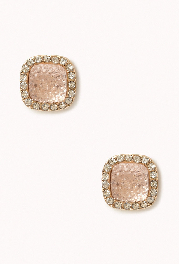 Forever 21 Rhinestoned Square Studs