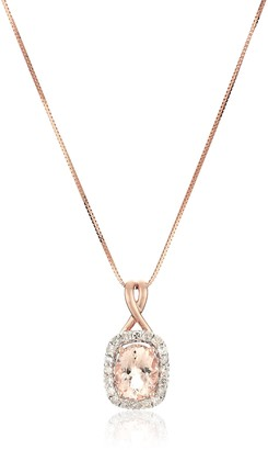 Amazon Collection 14k Pink Gold Morganite and Diamond (0.25 cttw H-I Color I2-I3 Clarity) Pendant Necklace 18""