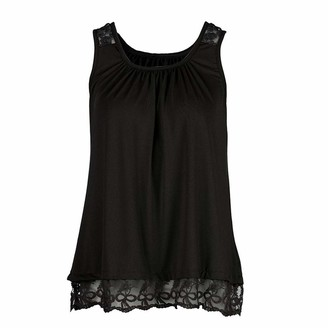 TWIFER Women O-Neck Sleeveless Pure Color Lace Vest Tops Loose T-Shirt Blouse Pullover Strap Camisole Tunic Casual Comfy Soft Solid Slouchy Tank (Black UK-8/CN-S)