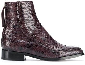 ALEXACHUNG Snake-Effect Ankle Boots