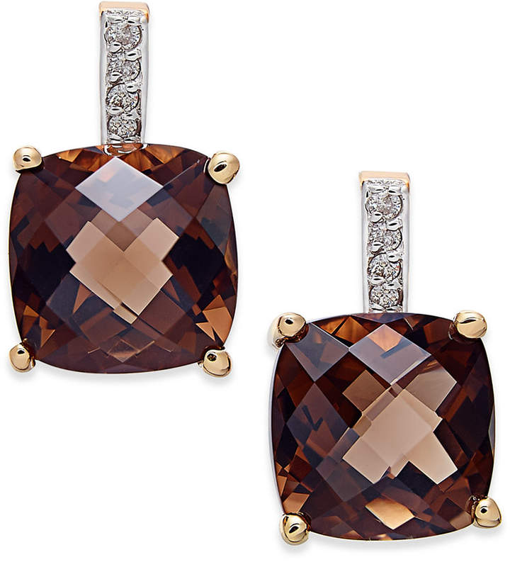 Macy's Smoky Quartz (6-1/5 ct. t.w.) and Diamond Accent Drop Earrings in 14k Gold