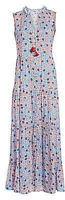 Poupette St Barth Women's Clara Sleeveless Floral-Print Button-Front Maxi Dress