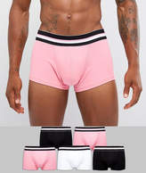 Asos Tall Hipsters In Pink & Monochrome With Stripe Waistband 5 Pack