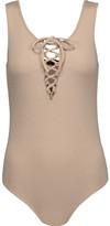 W118 by Walter Baker Lara Lace-Up Stretch-Cotton Bodysuit