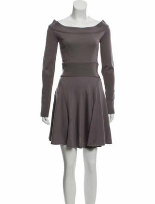 Alaia Virgin Wool Fit & Flare Dress Purple