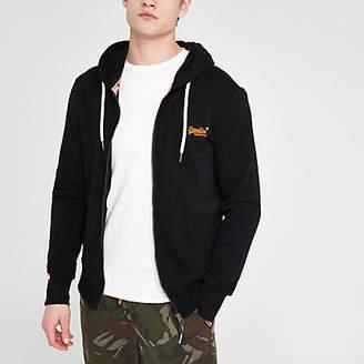 River Island Superdry black zip up hoodie