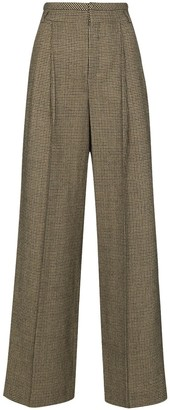 Chloé Houndstooth-Pattern Wide-Leg Trousers