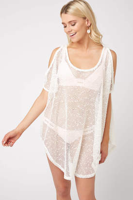 South Moon Under Cold Shoulder Sheer Tunic White XS