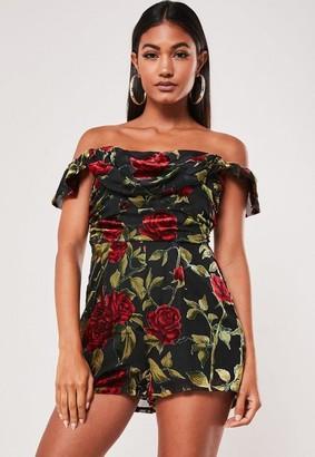Missguided Black Floral Devore Bardot Romper