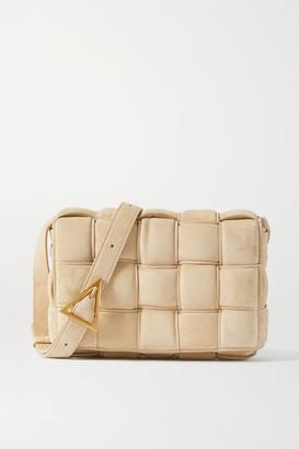 Bottega Veneta Cassette Padded Intrecciato Suede Shoulder Bag - Beige