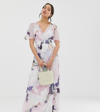 Little Mistress Tall kimono sleeve printed maxi dress