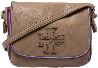Tory Burch Camel Leather Flap Crossbody Bag