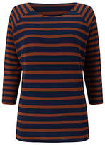 Phase Eight Carris Stripe Top, Navy/Tobacco