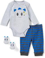Vitamins Baby Gray & Blue Dino Bodysuit Set - Infant