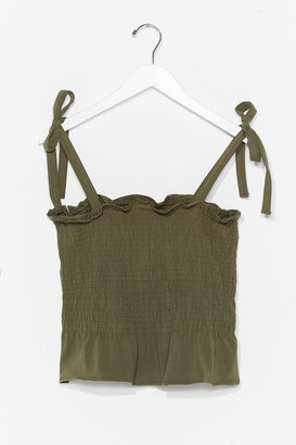 Nasty Gal Womens Shirred Does Tie Cami Top - Green - S, Green
