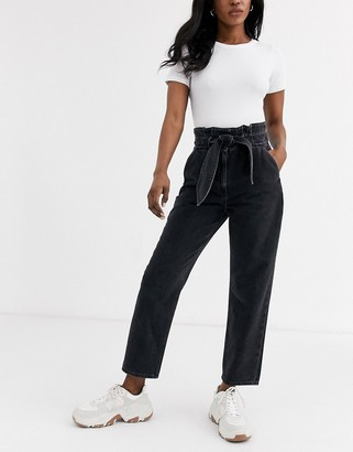 And other stories & tie detail high-waist jeans in washed black