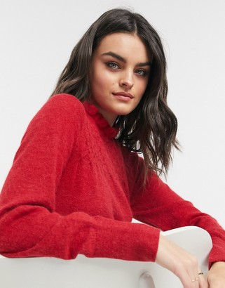 And other stories & honeycomb frill detail jumper in red