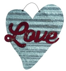 Transpac Trans Pac Silver Valentines Day Corrugated Love Heart Wall Art