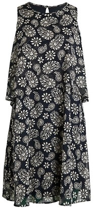 Tommy Hilfiger Paisley Floral Print Overlay Shift Dress