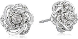Amazon Collection Sterling Silver with White Diamond Fashion Earrings (1/10cttw I-J Color I2-I3 Clarity)