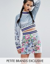 Jaded London Petite Printed Velvet Crop Sweater With Ribbed Neck