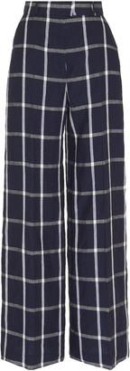 Martin Grant Checked Linen Wide-Leg Trousers