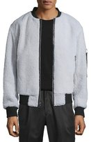 Ovadia & Sons Shearling Fur Bomber Jacket w/Contrast Trim