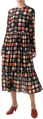 Akris Punto Wood Block Dot Tiered Long Sleeve Dress