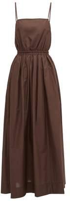 Matteau - Elasticated-waist Cotton-poplin Maxi Dress - Womens - Nude